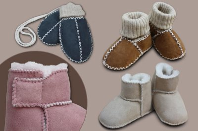 Baby lambskin mittens and shoes