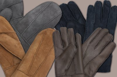 Lambskin mittens and gloves